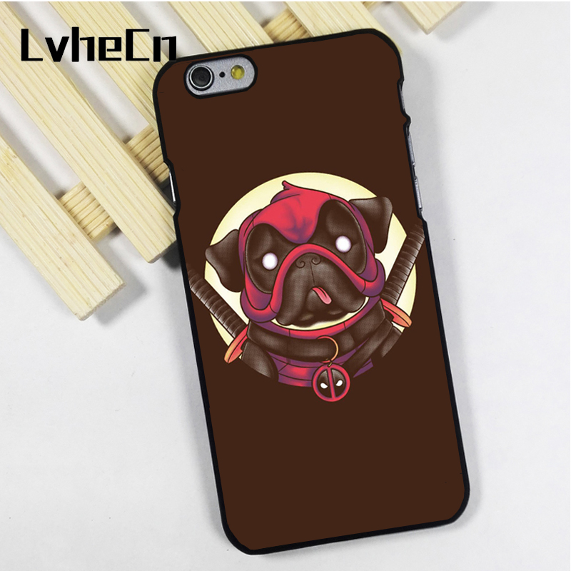 LvheCn phone case cover fit for iPhone 4 4s 5 5s 5c SE 6 6s 7 8 plus X ipod touch 4 5 6 Deadpool Pug Deadpug Funny Dog