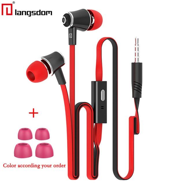 Original Langsdom JM21 JV23 fones de ouvido com Microfone Super Bass Fone de Ouvido fone de Ouvido Para o iphone 6 6 s xiaomi fone de ouvido do smartphone