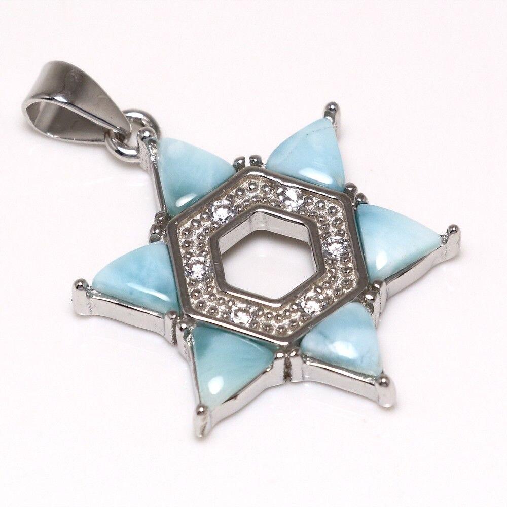 New Design 100% 925 Sterling Silver Pendants Fine Larimar Pendant Charms with Natural Larimar Pendant without Chain for Girls