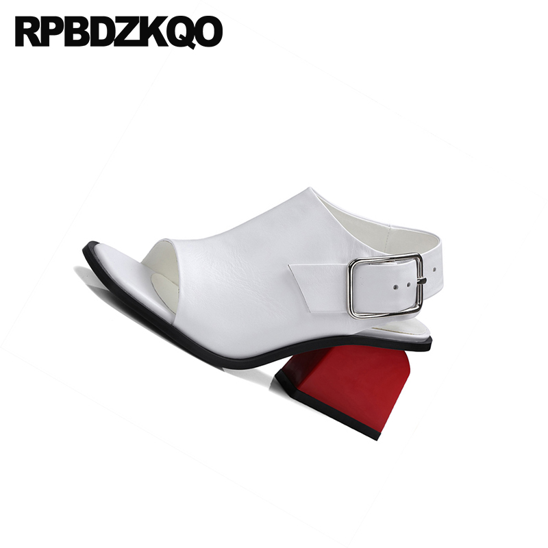 e604282ba3 ... Leather Boots White Shoes Women Heels Chunky Peep Plus Booties High  Genuine Sandals Toe Designer Pumps ...