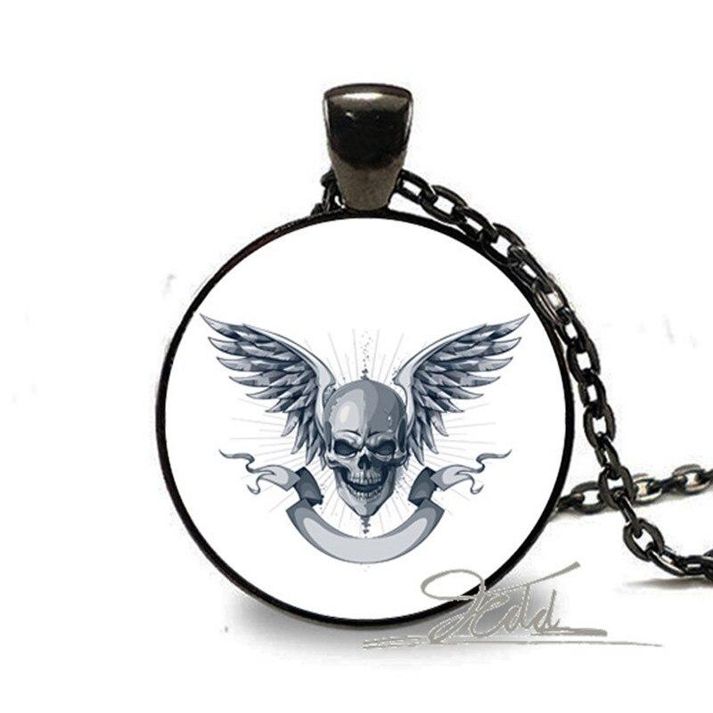 1 Stücke Unisex Mode Tattoo Choker Schwarz Gothic Skeleton Flügel Punk Schädel Bronze Charms Bild Glas Kunst Kuppel Anhänger Halsketten