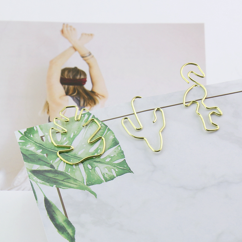 TUTU Plant Cactus Flamingo Shape Gold Metal Paper Clips Photo Message Cute Bookmark Planner Office Accessories Stationery H0225