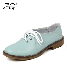 hot deal buy zocn 2016 fashion genuine leather shoes woman flats casual shoes oxfords flats shoes lace up soft and breathable zapatos mujer