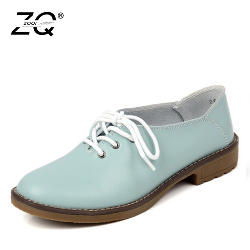 ZOCN 2016 Fashion Genuine Leather Shoes Woman Flats Casual Shoes Oxfords Flats Shoes Lace Up Soft
