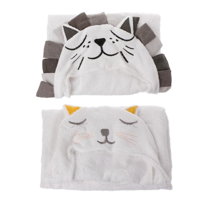 Soft Baby Kids Cartoon Hooded Blanket Bathrobe Bath Terry Towel Wrap Washcloth #0326#