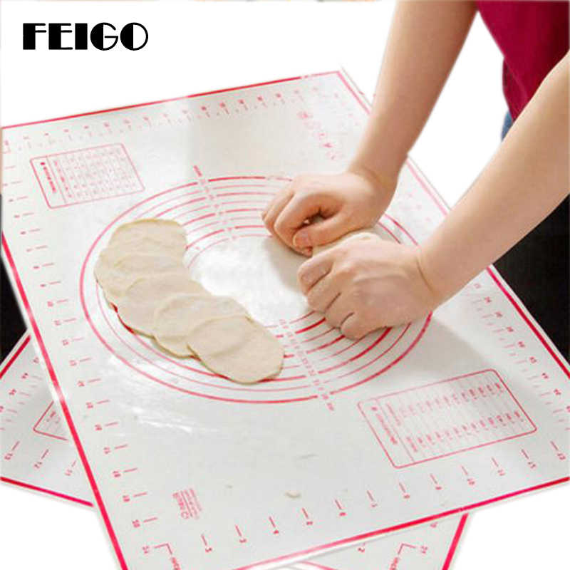 FEIGO 60cm*80cm Collapsible Non-stick Silicone Baking Mat Kneading Dough Pad Baking Tray Inner Liner Kitchen Cooking Tools FK05