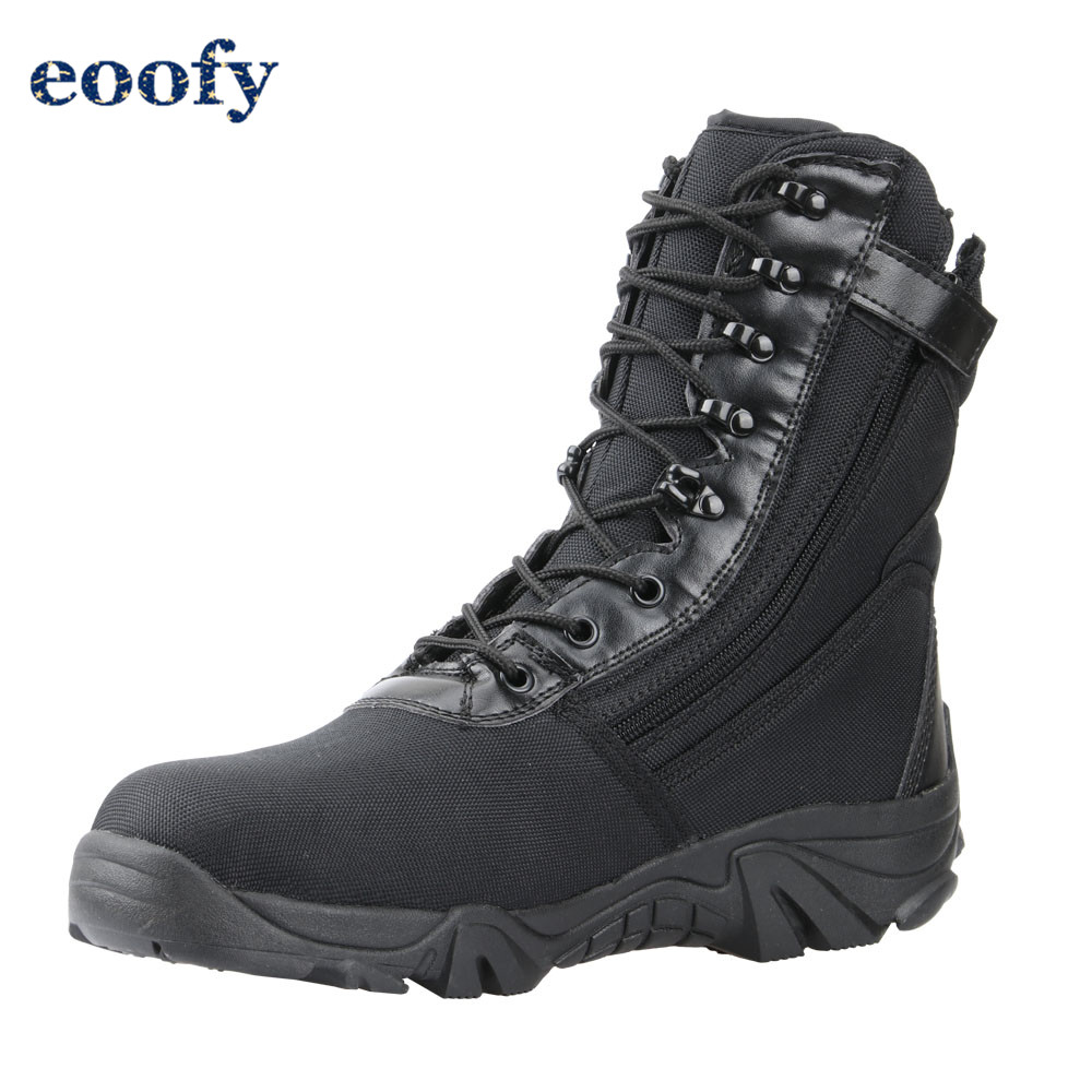 Black Combat Boots Mens Army Tactical Shoes Hiking Military Footwear Riding Boots With Zipper Breathable 1