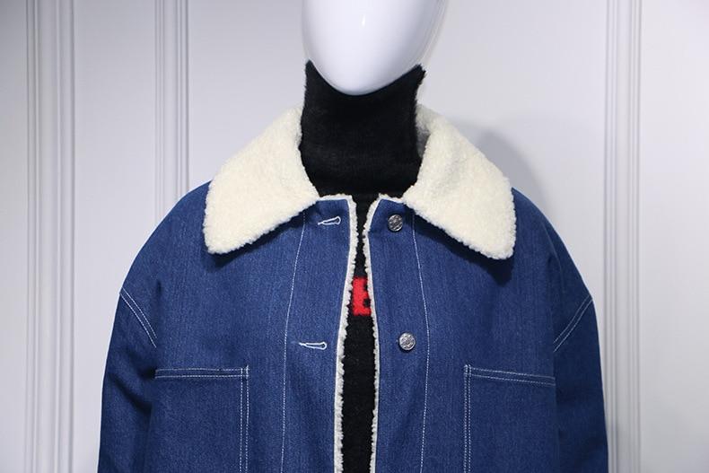 À D'agneau L'intérieur Laine Femmes Manteau Denim Fourrure D'hiver Seliing De Avec Faux Bleu Veste 2018 Chaude aqvTx0