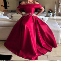 2018 A Line бордовые вечерние платья с длинным рукавом с открытыми плечами для выпускного вечера платье для подростков Драгоценности пояса атла