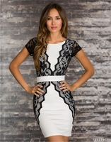 2014 New Fashion Women Elegant Lace Panel In Side Bodycon Bandage Dress Summer Casual Dress M