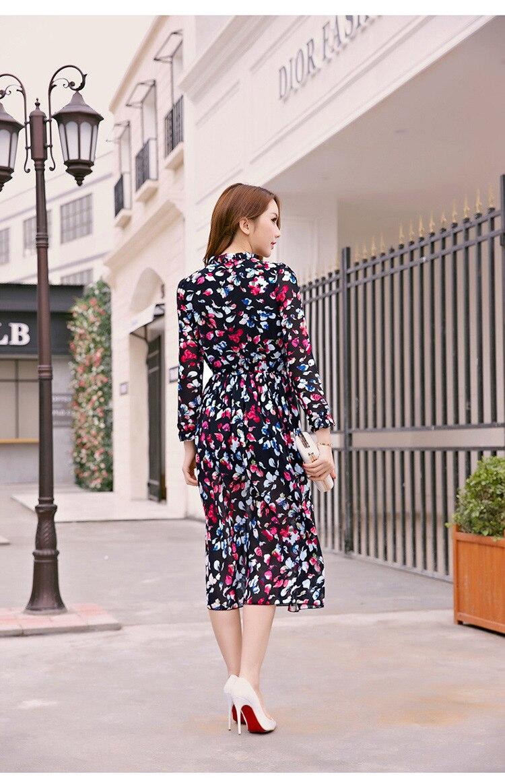 Kerrilado New Fashion Spring and Summer Female Petals One-Piece Dress Soft Cloth Longuette Plus Size L XL Size AX04