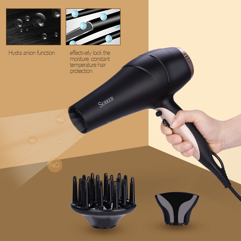 2200W Professional Hair Dryer Blow High Power Hydra Anion Electric Thermostatic Hot&Cool Hairdryer styling Tool lock moisture 42 braun 3in1 multifunctional hair styling tool hairdryer hair curler hair dryer blow dryer comb brush hairbrush professional as720