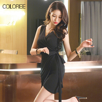 COLOREE Womens Summer Elegant Sexy Deep V Neck Belted Sleeveless Work Wear Business Party Bodycon Pencil