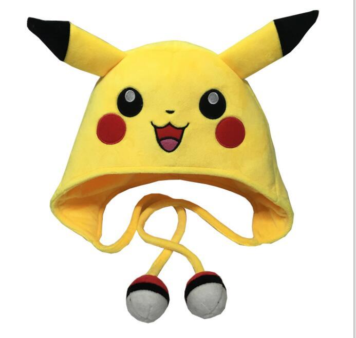 free-shipping-font-b-pokemon-b-font-pikachu-laplander-fleece-beanie-cap-with-ears