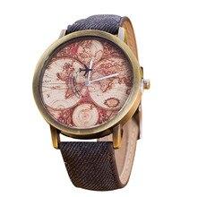 2018 модные Винтаж карта мира часы Для женщин наручные ковбой часы Для женщин женские часы Maprelogio feminino