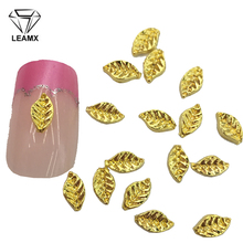 LEAMX 10 PCS/bag Gold Leaf Nails Art Decoration 3D Nail Charms Alloy Jewelry For Manicure Accessories Stickers L391