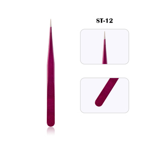 Image 5 - New Eyelash Extension Eyebrow Tweezers Purple Colored Stainless Steel Straight Bend Curved Tweezers Professional Makeup Tools