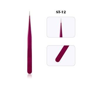 Image 5 - Nieuwe Wimper Extension Wenkbrauw Pincet Paars Gekleurde Roestvrijstalen Rechte Bocht Gebogen Pincet Professionele Makeup Tools