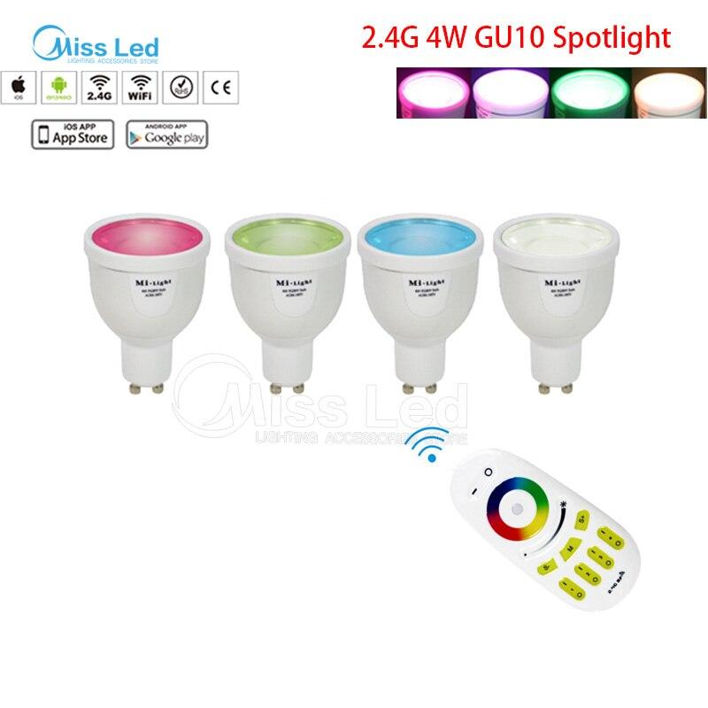 1X2.4G RF télécommande sans fil + 4x Mi lumière 4 w GU10 ampoule RGBW (RGB + blanc/blanc chaud) changement de couleur/luminosité lampe sans fil dimmable