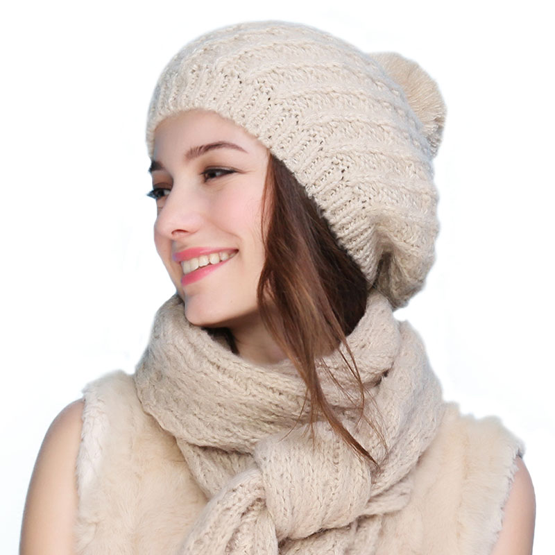d05e2af86382a FS Autumn Winter Knitted Hat Scarf Set Mohair Caps Soft Pom Pom Neck Warm  Fashion Beret Style Women Skullies Female Beanies -in Skullies   Beanies  from ...