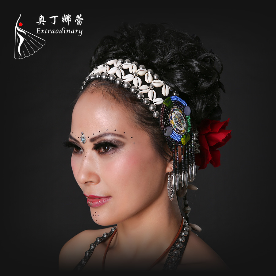 Ethnic Beading Rivets Dance Headwear font b Accessory b font Stage Performance Belly Costume font b