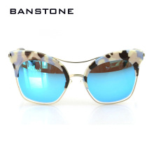 BANSTONE New Points Famous Cat Eye Sunglasses Women Retro Ladies Oversize Sun Glasses Lunette de soleil femme