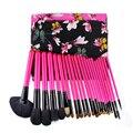 Flor 25 Unids Pinceles de Maquillaje Cosmético profesional kit de herramientas de pincel Kabuki Fundación maquillaje Cepillo de sombra de ojos de la Mujer