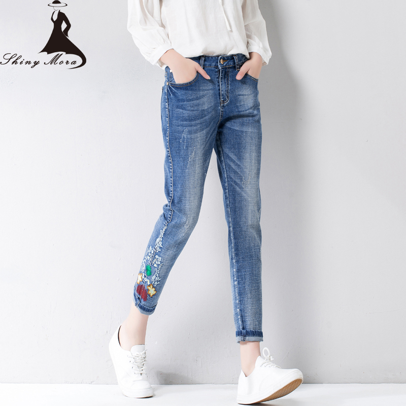 2017 NEW Flower Embroidery Harem Pants Jeans for Women Summer Casual Trousers Ripped Skinny Denim Jeans Calf Length Jeans female flower embroidery jeans female blue casual pants capris 2017 spring summer pockets straight jeans women bottom a46