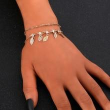 Boho Double Layer Gold Color Rhinestone Leaf Bracelet Fashion Women Tassel Chain Metal Ankle Bracelet Foot Beach Accessories