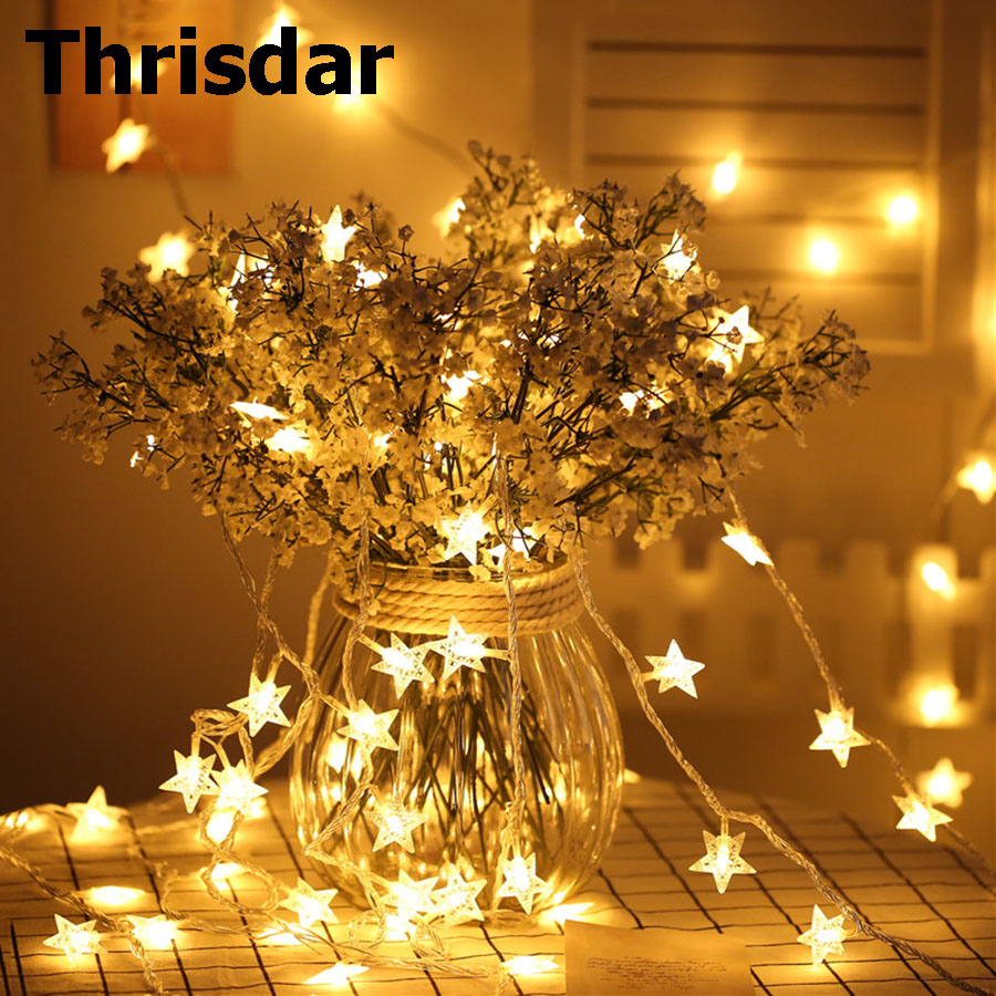 Thrisdar 5M 10M 20M 30M Five pointed Star LED String Fairy