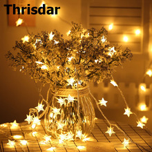Thrisdar 5M 10M 20M 30M Five pointed Star LED String Fairy Lights Outdoor Christmas Fairy String Light for wedding Party Holiday