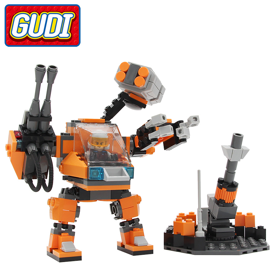 GUDI legoingly Earth Border Robots Blocks 183pcs Bricks Building Blocks Sets Assembled Model Educational kids Toys for Children enlighten 112pcs city tractor assembled building blocks toys for children educational blocks bricks sets kids boys birthday gift