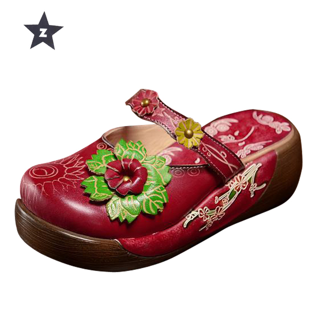 b6de16736022 Z summer sandals flip flop women leather shoes beach slippers ethnic floral  home thick heel platform sandals women slippers