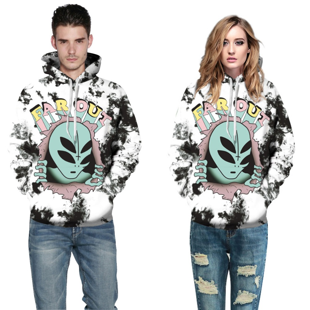 New Fashion Women 3D Print Hoodies Men&Women Hooded Sweatshirt Bizarre Alien Halloween Casual Loose Thin Pullovers Tracksuit