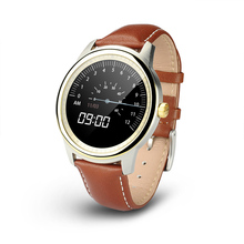 Original DM365 Bluetooth 4.0 Smart Watch MT2502A 360*360 IPS full view & Leather Strap Pedometer Sleep Monitor for IOS & Android