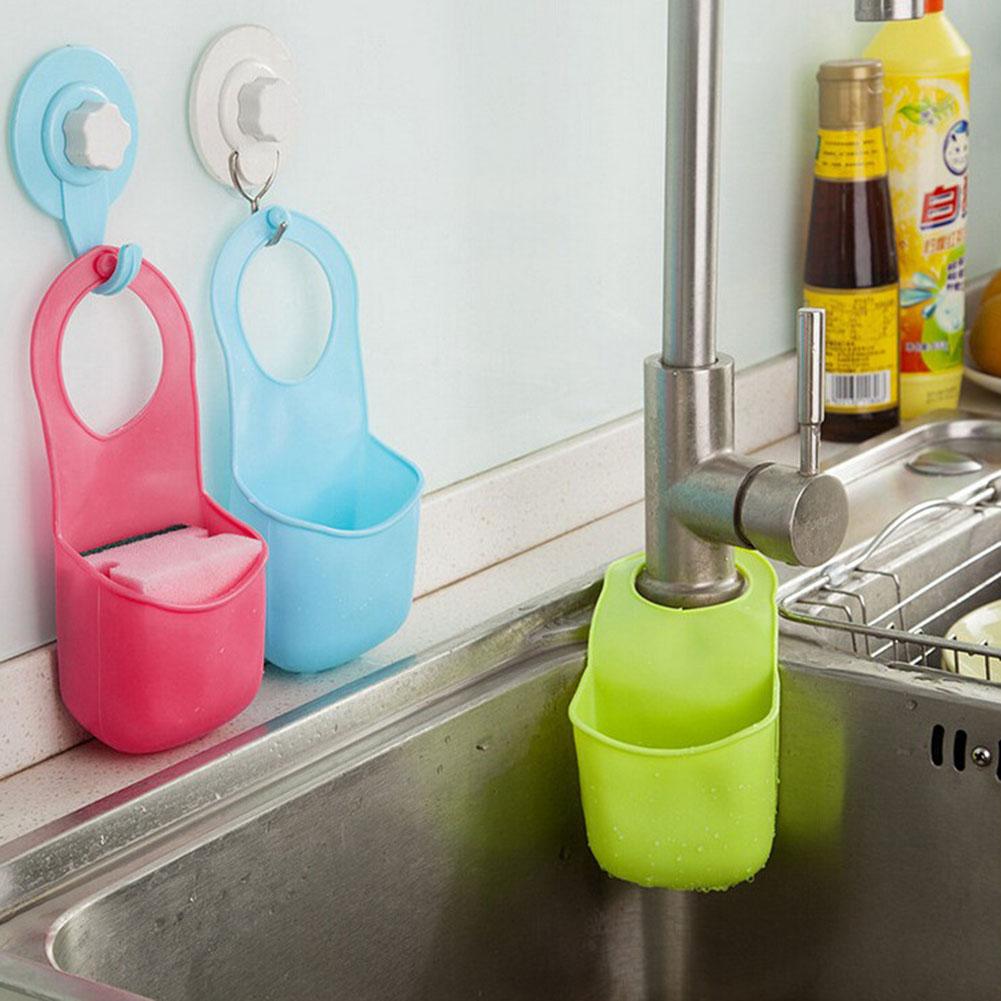 kitchen bathroom hang plastic container storage box home faucet soft gadget sponge soap storage box sink