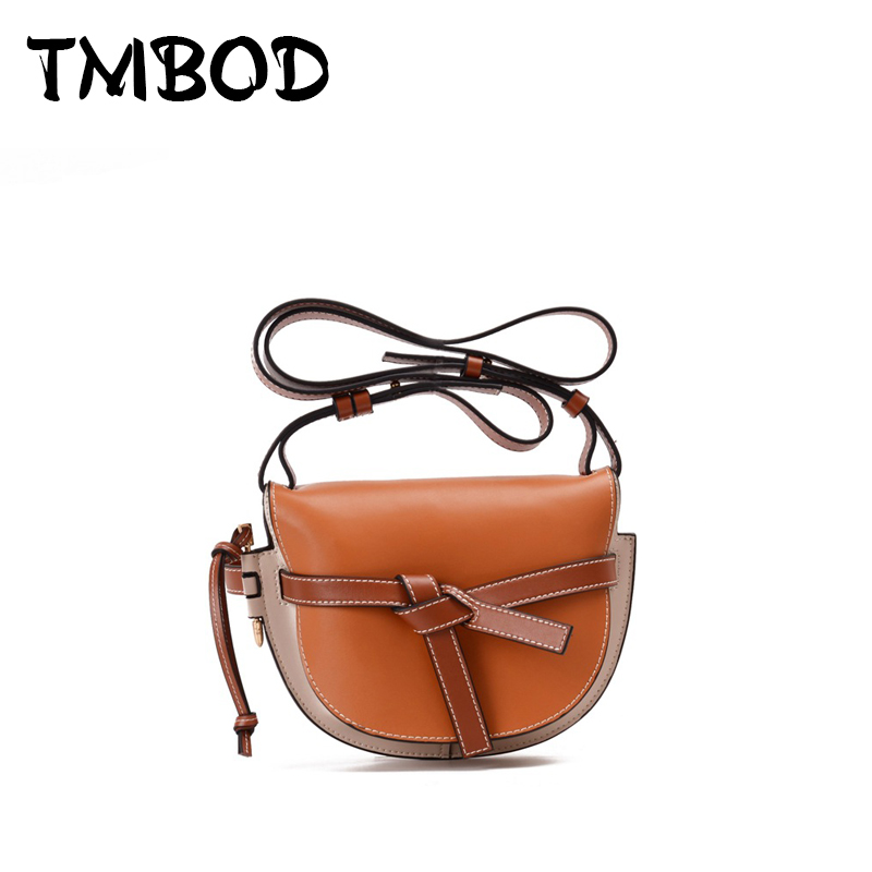 New 2018 Design Cute Bow Small Panelled Saddle Bag Women Classic Split Leather Handbags Ladies Messenger Bags For Female an1087 new 2018 designer classic panelled patchwork bucket bag women split leather handbags ladies crossbody bag for female an954