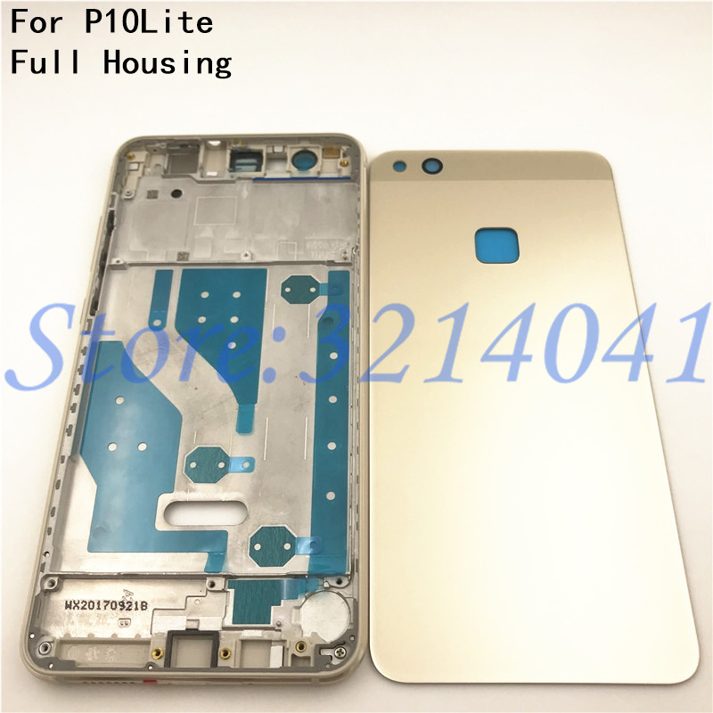 Full Housing For Huawei P10 Lite LCD Front Frame+Glass Back Battery Cover+Housing Middle Frame Adhesive Sticker+Buttons-in Mobile Phone Housings & Frames from Cellphones & Telecommunications on