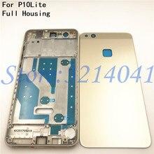 Полный корпус для Huawei P10 Lite ЖК передняя рамка + стеклянная задняя крышка батарейного отсека + средняя рамка Клейкая наклейка + кнопки