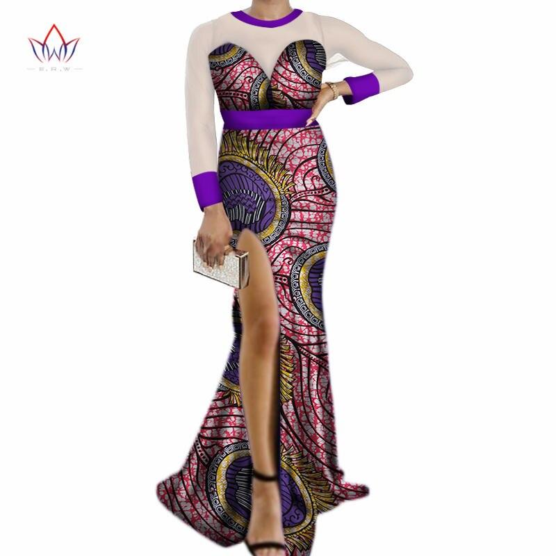 Новые осенние африканские платья для Для женщин Базен Riche сексуальный разрез сбоку длинные трикотажное платье в африканском стиле женская ...