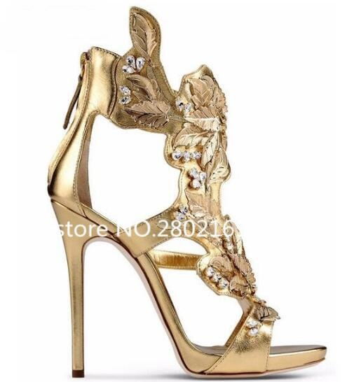 Aliexpress.com   Buy 2017 Hottest Selling Bling Bling Gold Leaf Crystal  Decoration Thin High Heels Fashion Sexy Women Summer Free Shipping Sandals  from ... a2bdba46bd2c