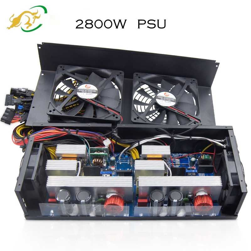 Nyata ETH Mesin Pertambangan ATX Power Supply Bitcoin PSU 2800 W 80 PLUS PC Sumber Mendukung 6 GPU Kartu RX 470/480 RX 570 P106 GTX1080