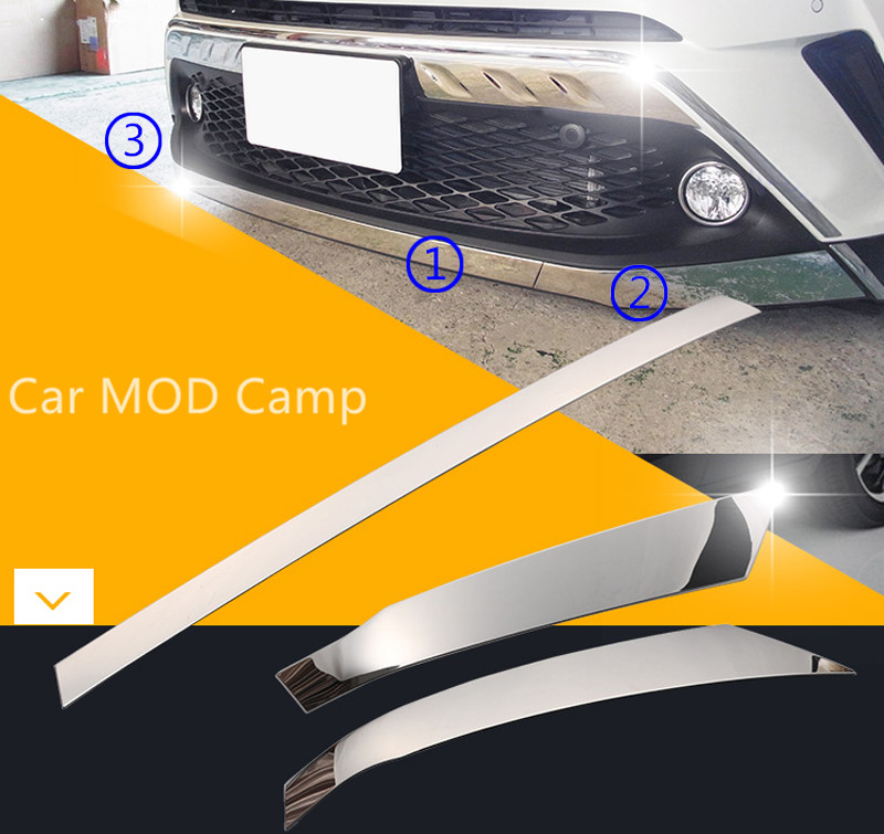 For Toyota C-HR 2016 2017 2018 Stainless Steel Chrome Front Bumper Bottom Decoration Strip Cover Trim 3pcs Car Styling front bumper foglight decoration strip 2 pcs