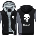 New Winter Warm The Punisher Hoodies Anime skull Hooded Coat Thick Zipper men cardigan Jacket Sweatshirt