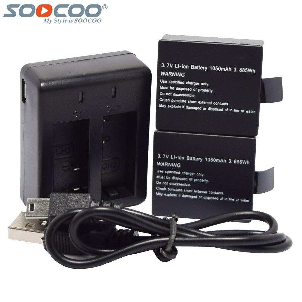Prix pour SOOCOO Double Ports Batterie Chargeur + 2 Pcs 1050 mAh Rechargeable Li-sur Batteries pour C30R C30 SJ5000X SJ4000 M10 Sport Action Caméra