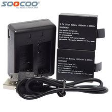 SOOCOO Dos Puertos Cargador de Batería + 2 Unids 1050 mAh Recargable Li-on de Baterías para C30R C30 SJ5000X SJ4000 M10 Acción Deporte Cámara