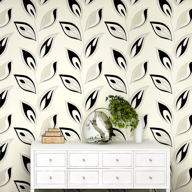behang,Modern Leaf Patten 3D Wallpaper for Walls Non Woven Floral Wall Paper Roll Living Room Green Leaf Wallpaper for Bedroom