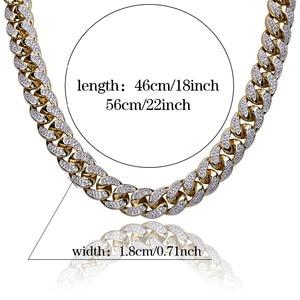 Image 5 - 18 مللي متر الهيب هوب الرجال المجوهرات قلادة النحاس مثلج خارج الذهب اللون مطلي مايكرو تمهيد تشيكوسلوفاكيا حجر سلسلة القلائد 18 بوصة 22 بوصة