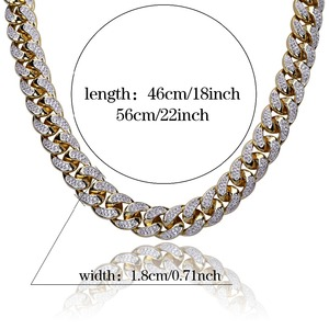 Image 5 - 18mm Hip Hop Men Jewelry Necklace Copper Iced Out Gold Color Plated Micro Pave CZ Stone Chain Necklaces 18inch 22inch