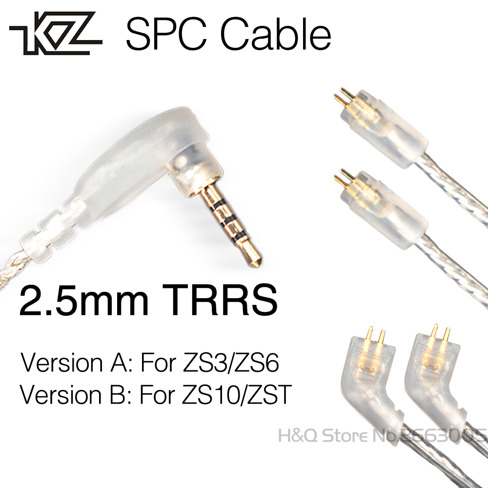 Newest KZ 2.5mm TRRS SPC Cable 0.75mm 2-Pin Upgraded Silver Plated Cable 2 PIN Upgrade Cable For KZ ZST/ZS10/ZSR/ES4/ZS3/ZS6